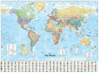 """WORLD MAP Large Laminated Poster, Country, Flags, Home Office Study, 40"""" x 54"""""""