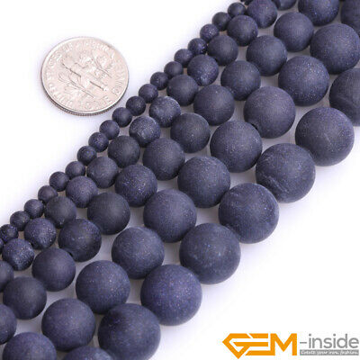 """Frosted Matte Blue Sandstone Round Loose Beads Jewelry 15""""4mm 6mm 8mm 10mm 12mm"""