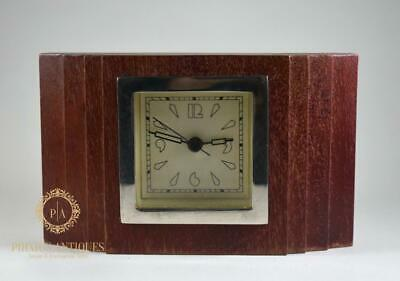 Wooden Art Deco Style Small Mantle Quartz Clock