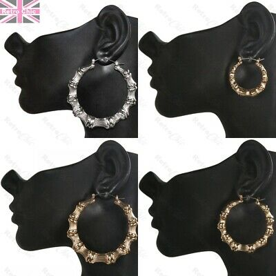 BAMBOO EARRINGS bling big/small ROUND hoops SILVER/GOLD FASHION hoop hip hop UK
