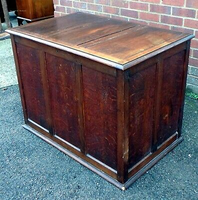 Edwardian antique Arts Crafts solid pegged English oak blanket box coffer chest