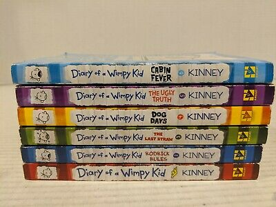 Set of 6 Diary Of A Wimpy Kid  Books #1-6 Paperback Free Shipping!!