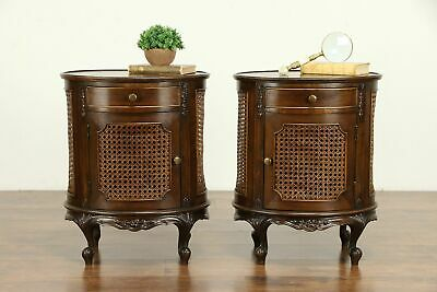 Pair of Antique Oval Walnut Nightstands or End Tables, Cane Panels #32572