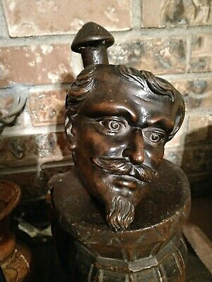 Antique napoleon iii France Wall Console Shelf Hand Carved  Wood face Head mask