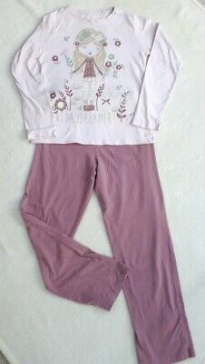 Girls Pyjamas Age 10 - 11 Nutmeg Pink Long Sleeve Trouser Nightwear Used
