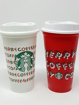 Starbucks Holiday Christmas 2019 Red and White Hot Reusable Cup w/ Lid- 2cups