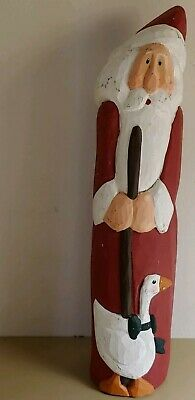 Vintage Carved Hand Painted Wood Figural Santa Claus w/ Duck Folk Art 13""