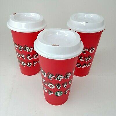 LOT OF 3 Starbucks 2019 Red Reusable Cup Grande 16oz MERRY COFFEE