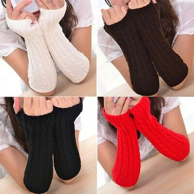 Ladies Girl Twist Fingerless Gloves Arm Warmer Women Long Knit Mitten Winter