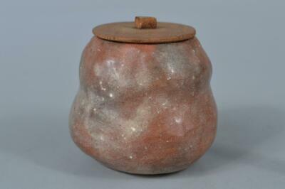 M988: Japanese Raku-ware Red glaze TEA CADDY Chaire Container Tea Ceremony