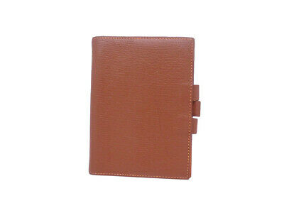 Auth HERMES Square E (2001) Bi-color Agenda/Note Cover Brown/Orange - e43476