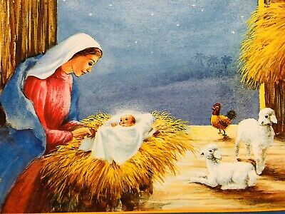 Vintage 60s Christmas Card~Mother Mary Adores Sweet Baby Jesus~Lambs~Rooster