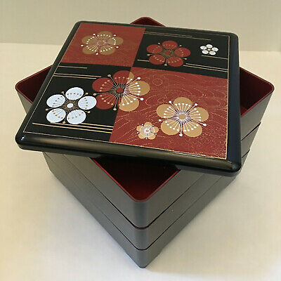 Japanese Stack Bento Box Food Container 3 Tiers Black Lacquered Tsuru Cranes Fan