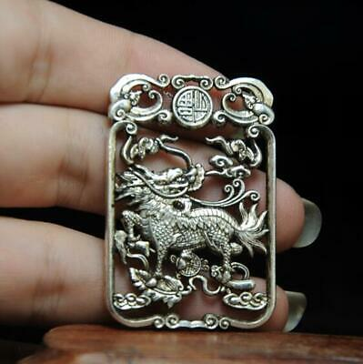 chinese handmade cooper-plating silver kylin statue pendant a01