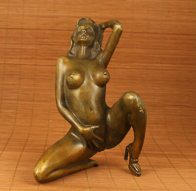 Big Copper Bronze Hand  Carved Sexly high-heeled shoes Girl Statue f02