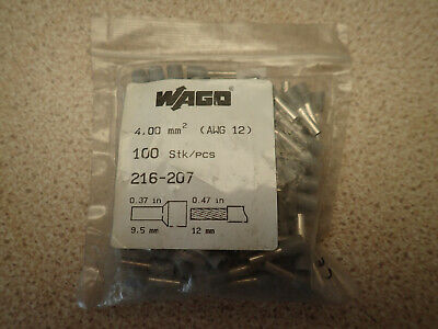 Pack of 98 x Wago 216-207 Ferrule ; Sleeve for 4.0mm2 / AWG 12 Ins Grey