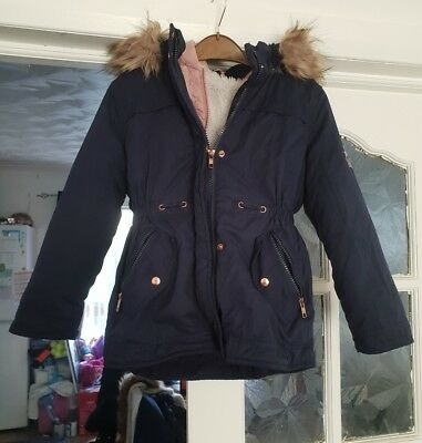 girls blue two in one coat age 6-7 years from George