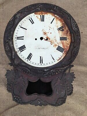 Antique Wall Clock Case Only Double Fusee Mahogany For Restoration Chester Dial
