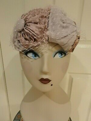 Vintage Velveteen & Satin Pill Box Style Ladies Hat With Veil,  by 'Sheppard'.