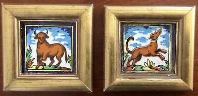 Vintage  Ceramic Tiles Of Dog & Bull From Sevilla, Spain