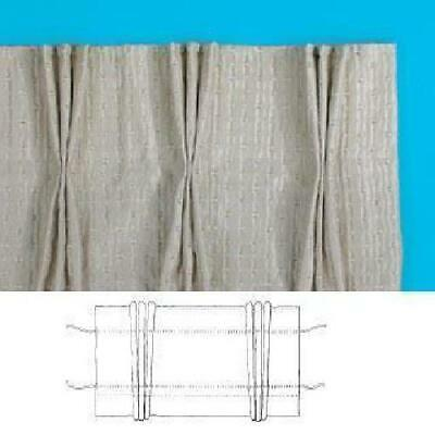Pinch Pleat Curtain Tape White & Tape HOOKS - Bulked Draw-cords Woven Pockets Ea