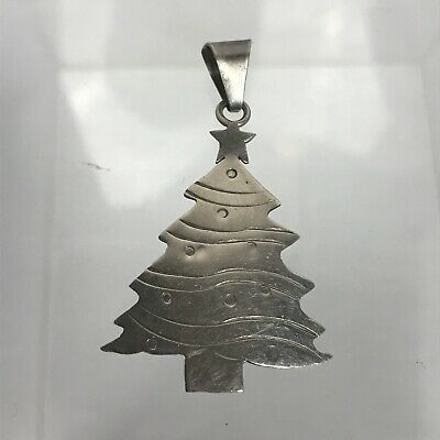Vtg Mexico 925 Sterling Silver Large Christmas Holiday Tree Drop Pendant
