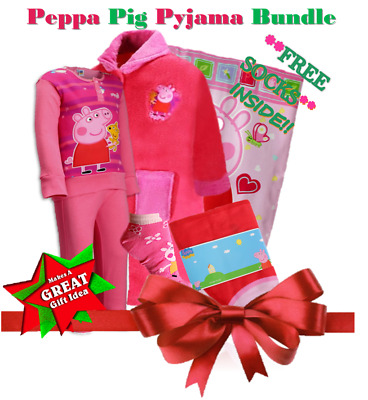 Girls Winter  Pink Peppa Pig Pyjama Robe Blanket Bundle UK 6 Years
