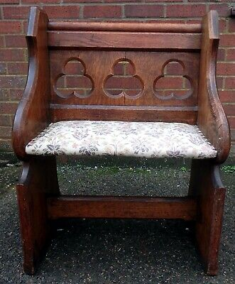 Victorian antique Arts & Crafts Gothic solid oak small pew settle bench stool