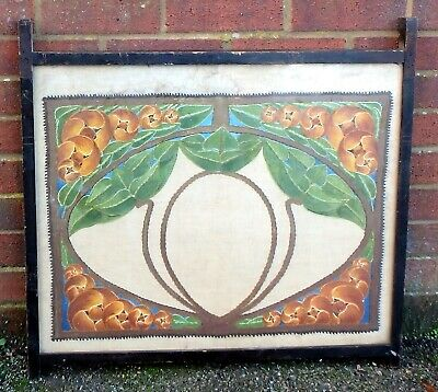 Edwardian antique Art Nouveau Glasgow school painted tapestry needlework sampler