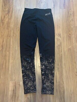 JUSTICE Black Rose Gold Girth's Youth Athletic Leggings Size 12