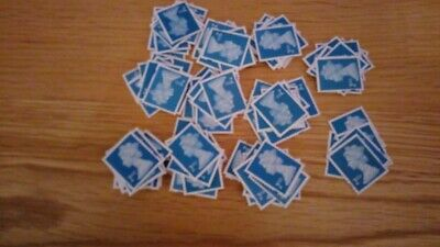 100 x 2nd Class Royal Mail Stamps; Unfranked, No Gum, Off Paper Set A