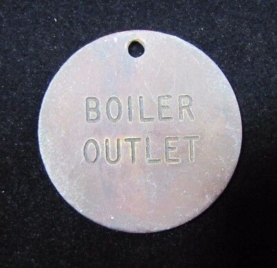 Old Brass BOILER OUTLET Double Sided Nameplate Tag Small Sign Fob Industrial