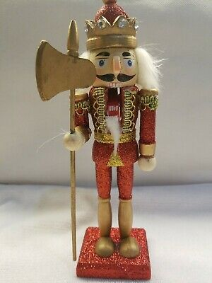 "Wooden Soildier Prince Drummer Nutcracker & Crown 9"" Christmas Gift Decoration"