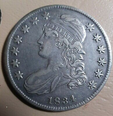 1834 Capped Bust Half Dollar 50C Silver Coin