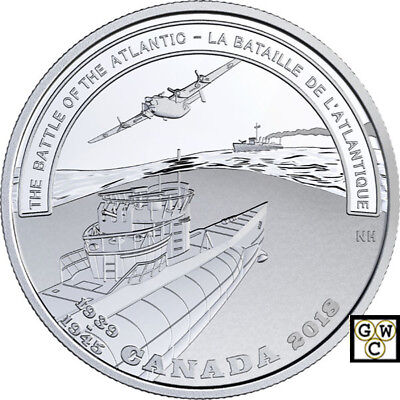 2018Battle of The Atlantic-Battlefront' Prf $20 Silver Coin 1oz .9999Fine(18473)