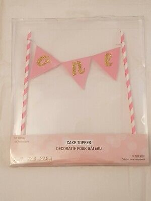 Pink 1st Birthday Cake Topper Banner Bunting