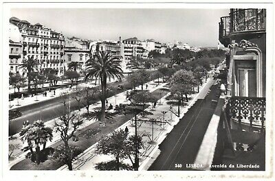 Portugal Lisboa, Avenida da Liberdade, black & white photo postcard