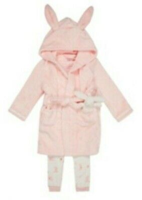 Ted Baker Girls Pink rabbit dressing gown, Pjs + Teddy 12-18months BNWT bunny