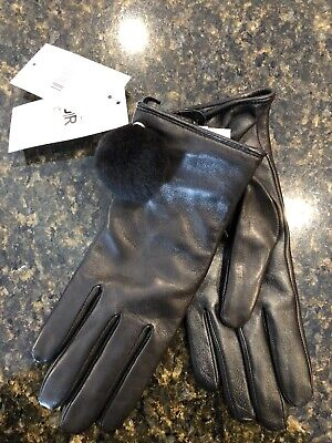 Nwt ~ Womens Medium Black/Black Ugg Leather Pom Gloves 17439 $110