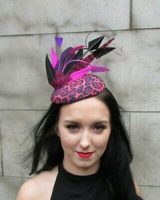 Fuchsia Hot Pink Purple Black Pheasant Feather Hat Fascinator Leopard Print 7960