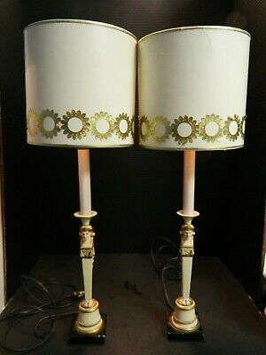 "Antique Pair Of Art Deco Egyptian Revival Metal Table Lamps 24"" x 8"" Very Good"