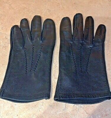 """Men's Black Leather Driving Gloves Length 8.5"""" Large, Nice Used Condition!"""