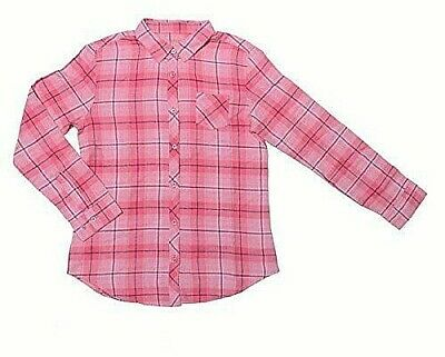 Faded Glory Girls Long Sleeve Flannel Plaid Button Fnt Shirt LARGE (10-12) Pink