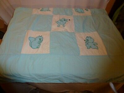 "Vintage 1971 Baby Quilt, Handmade, Blue White w/ Puppies Kittens more 35"" X 58"""