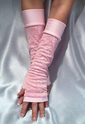 Madame Fantasy Long Sequin Fingerless Gloves Spandex Cuffs Baby Pink Arm Warmers