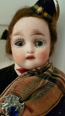 Antique Bisque head German KLING boy doll 8 inch original Scottish dress.
