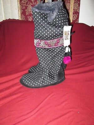 MUK LUKS Jasmine Black / Purple Poms Lined  Tall floral  Boots size  Small  NEW