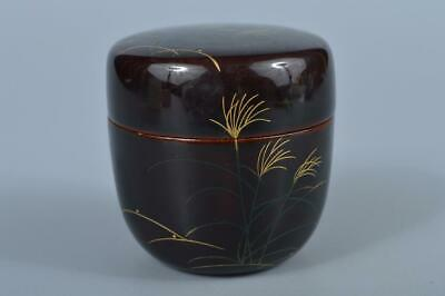 K3804: Japanese Wooden Susuki gold lacquer pattern TEA CADDY Natsume Chaire