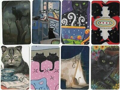 8  Swap Playing Cards Black Cats Kittens Modern Blank Backs Just 50C Each