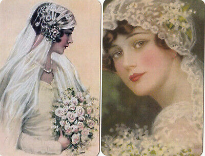 2  SWAP PLAYING CARDS BEAUTIFUL BRIDES IMAGES FROM 1920's - MODERN BLANK BACKS